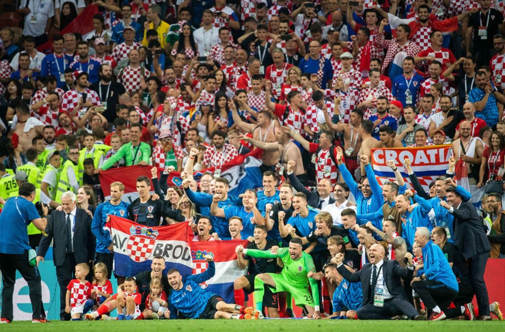 Kroatien jubelt: Das Team steht erstmals bei einer WM im Finale. Foto: dpa