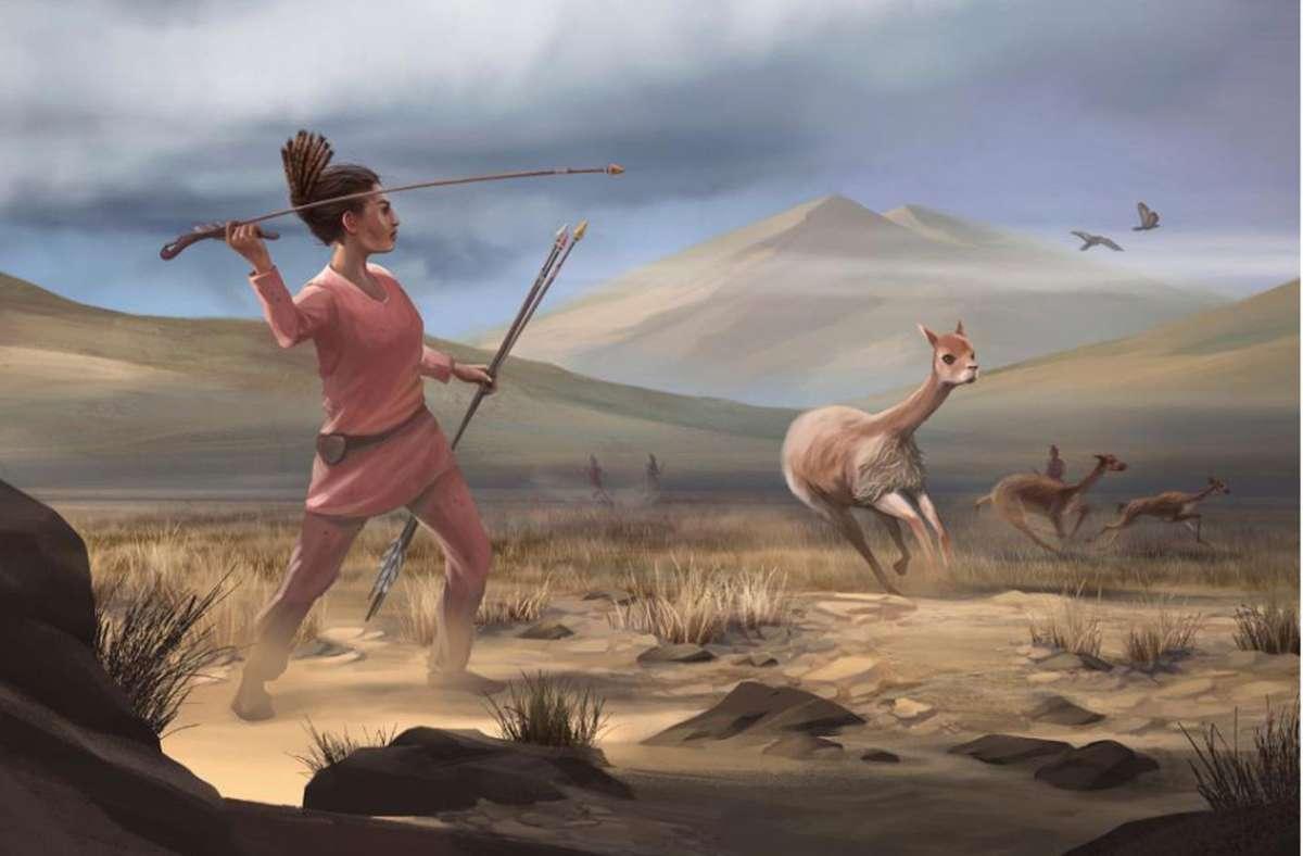 Illustration einer weiblichen Jägerin in den peruanischen Anden vor 9000 Jahren. Foto: Matthew Verdolivo/UC Davis IET Academic Technology Services