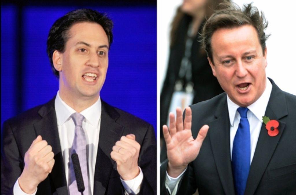 Die Parteivorsitzenden Ed Miliband (Labour) und David Cameron (Konservative)  kämpfen bis zum Schluss. Foto: dpa