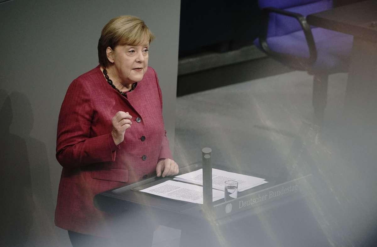 Angela Merkel stimmte die Menschen in Deutschland auf einen schweren Winter ein. Foto: dpa/Michael Kappeler