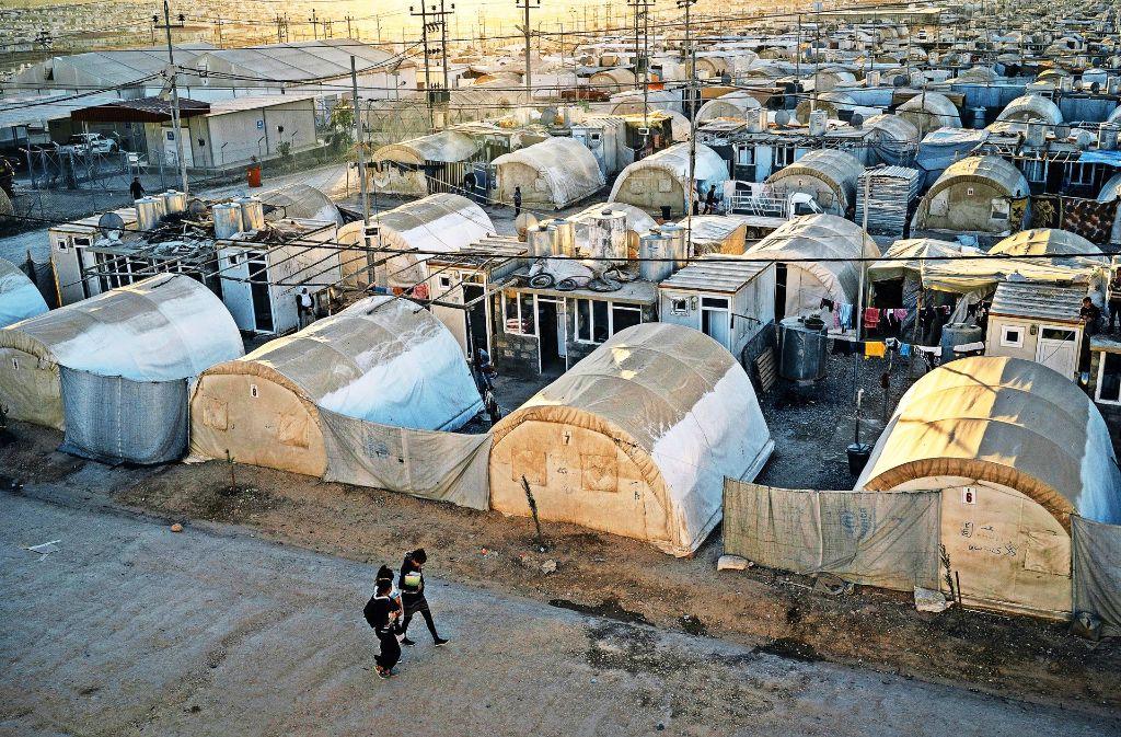 Im Flüchtlingslager Kabarto in Dohuk suchen Jesiden Schutz vor dem IS. Foto: AP