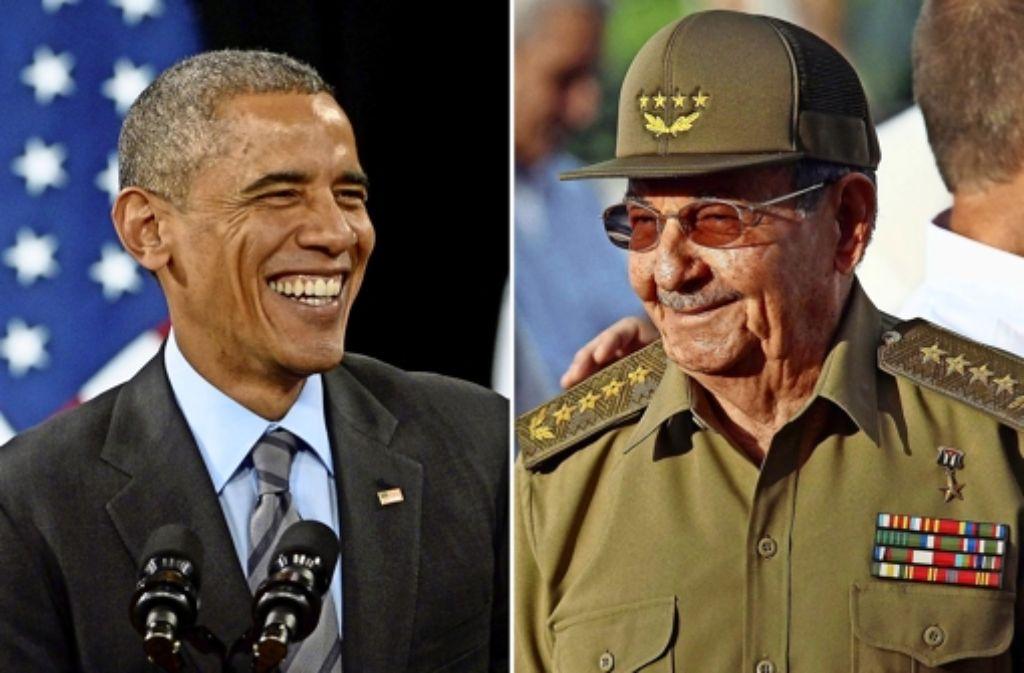 Barack Obama (links) will Kuba um Raul Castro von der Terrorliste streichen. Foto: EPA