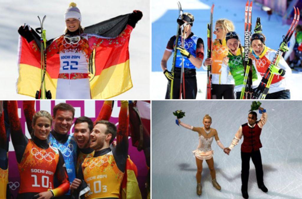 Hier alle deutschen Medaillengewinner in Sotschi zum Durchklicken. Foto: Getty Images | Montage: SIR