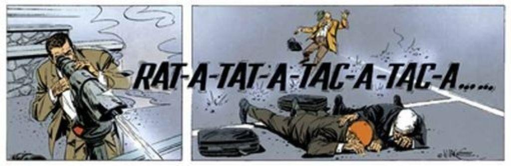 """Es braucht schon direkten MG-Beschuss, damit die Figuren in """"Bruno Brazil"""" mal einen Moment den Mund halten. Foto: Egmont Comic Collection"""
