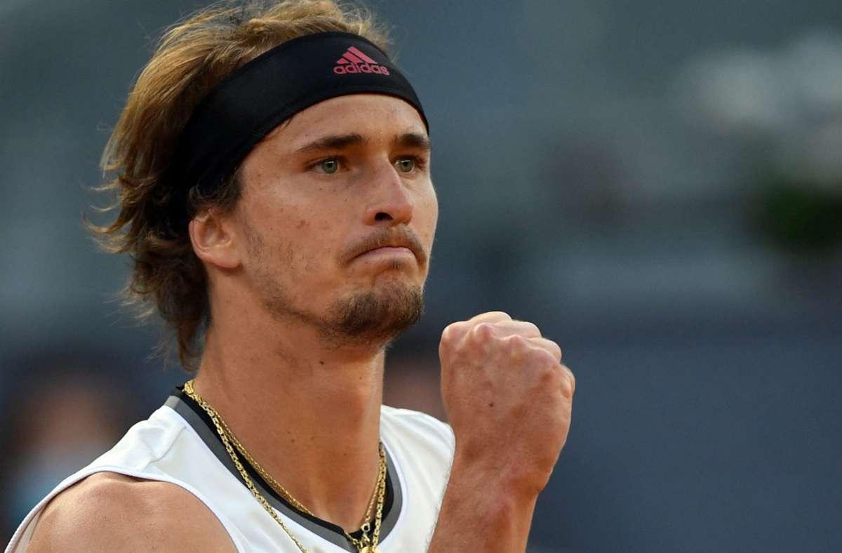 Alexander Zverev steht in Madrid im Viertelfinale. Foto: AFP/OSCAR DEL POZO