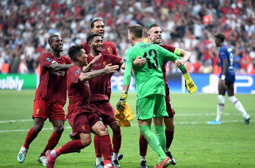 Liverpools Schlussmann Adrian hielt den fünften Elfmeter von Chelsea und sicherte so den Sieg für die Reds. Foto: Getty Images