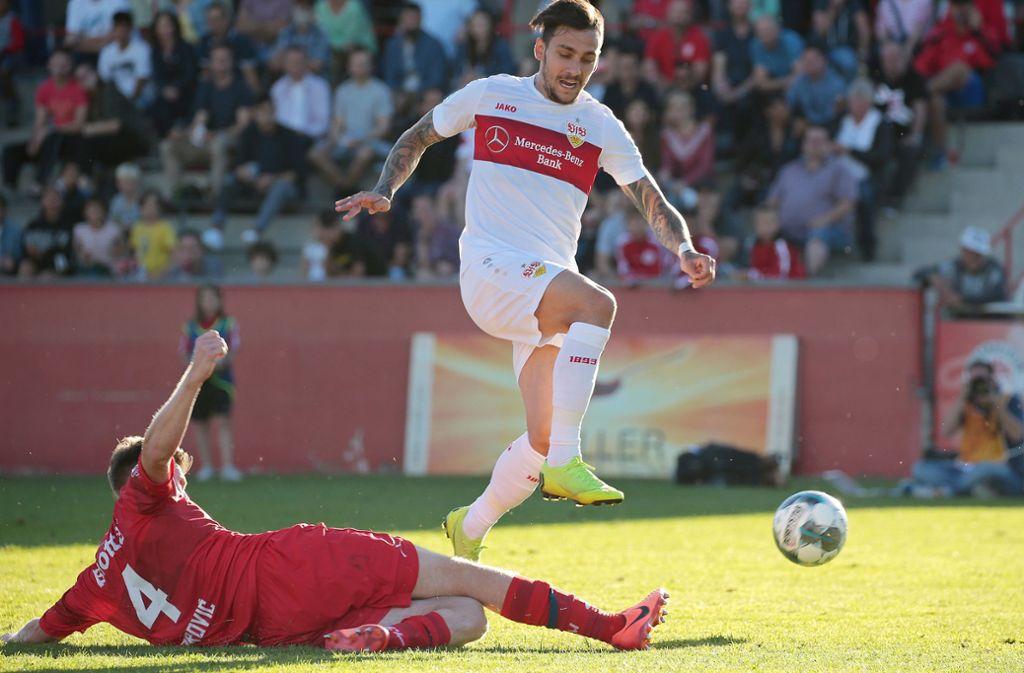 Kann gegen den SC Freiburg nicht auflaufen: Anastasios Donis. Foto: Pressefoto Baumann