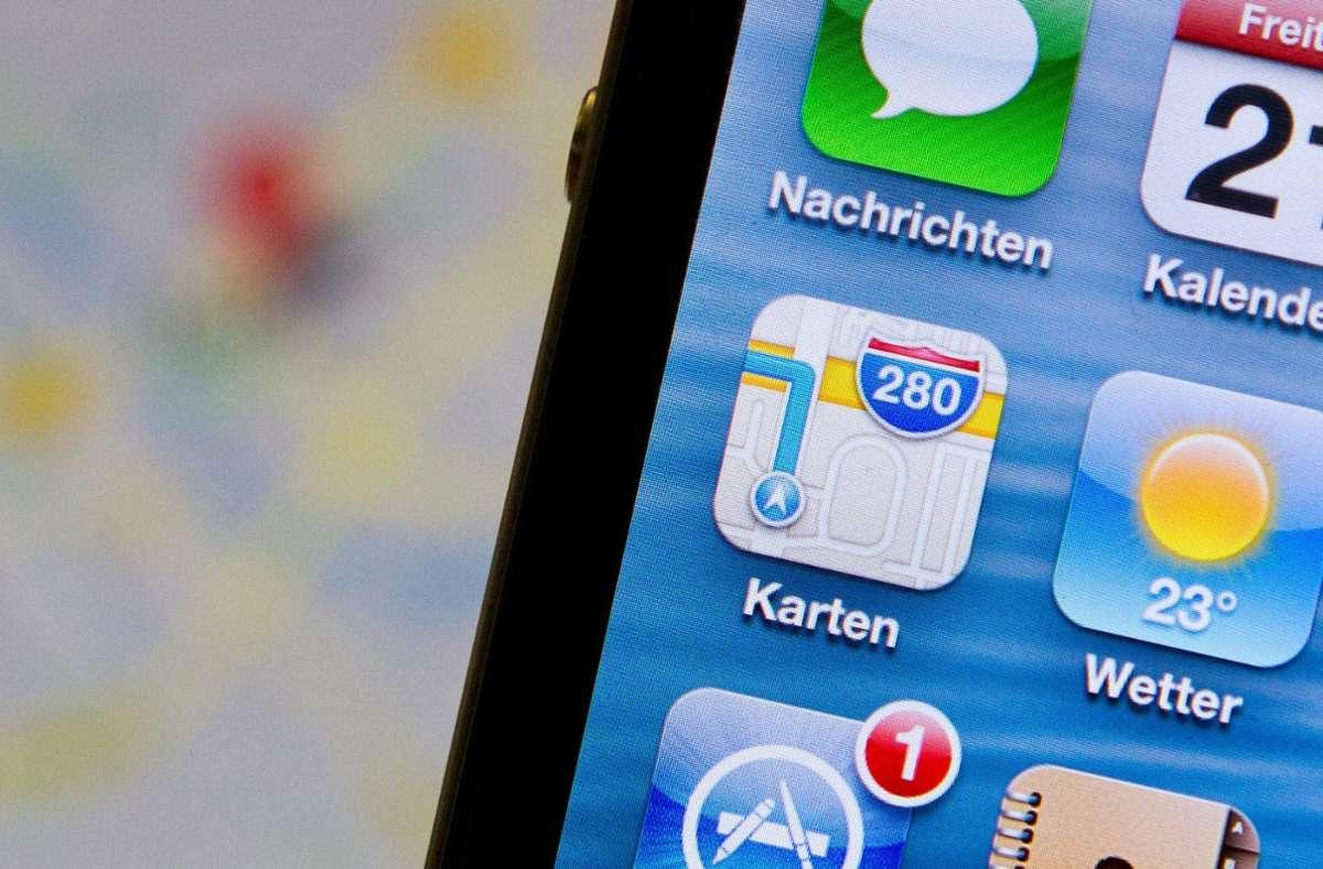 Die Karten-App für das Apple-Betriebssystem iOS wird um ein Tool erweitert. Dafür scannt der Tech-Konzern  derzeit deutsche Städte, darunter auch Stuttgart. Foto: dpa/Florian Kleinschmidt