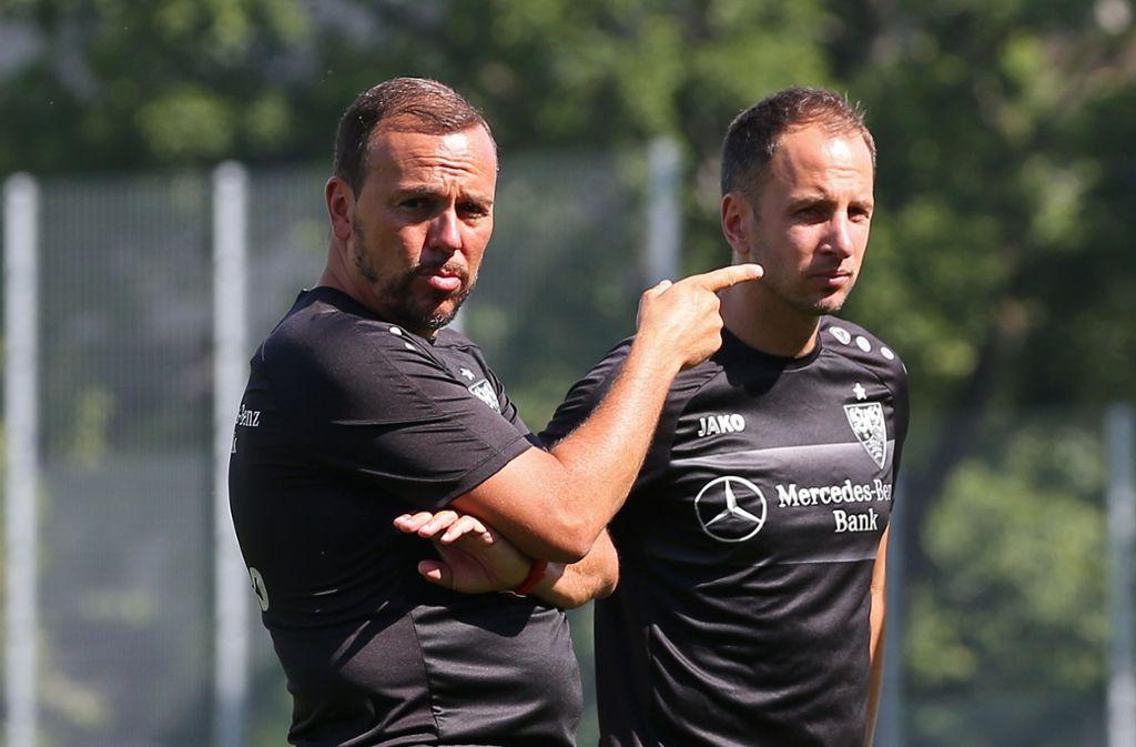Paco Vaz (li.) und Co-Trainer Tobias Rathgeb wollten mit dem VfB II am 6. September in Reutlingen antreten. Foto: Pressefoto Baumann