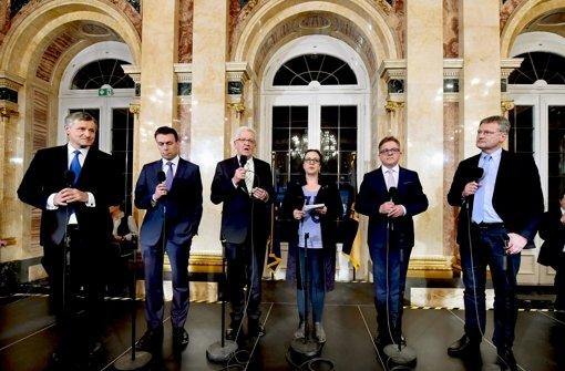 Hans-Ulrich Rülke (links außen) kann mit sich zufrieden sein. Foto: dpa