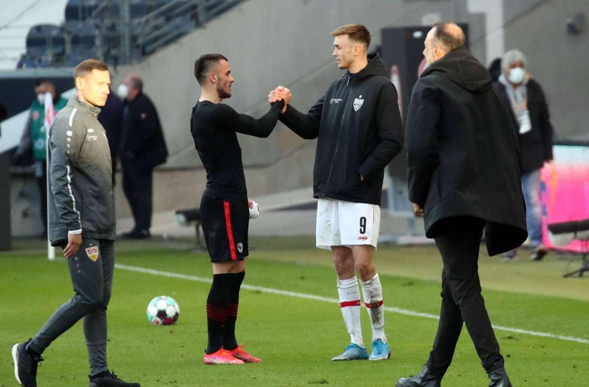 Filip Kostic und Sasa Kalajdzic erzielten die beiden Tore im Spiel zwischen Eintracht Frankfurt und dem VfB Stuttgart. Foto: imago images