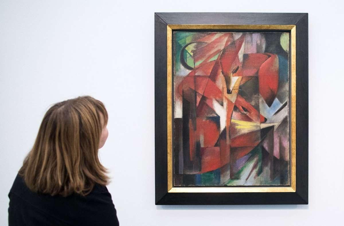 """Das Gemälde """"Die Füchse"""" von Franz Marc bleibt weiter Streitobjekt. Foto: dpa/Marcel Kusch"""