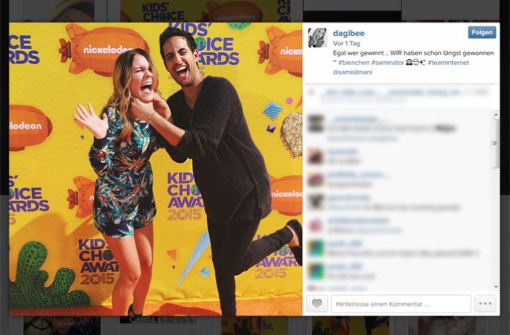 Eigentlich ganz friedlich: Sami Slimani und seine Blogger-Kollegin Dagi Bee bei den Kids Choice Awards. Foto: https://instagram.com/dagibee