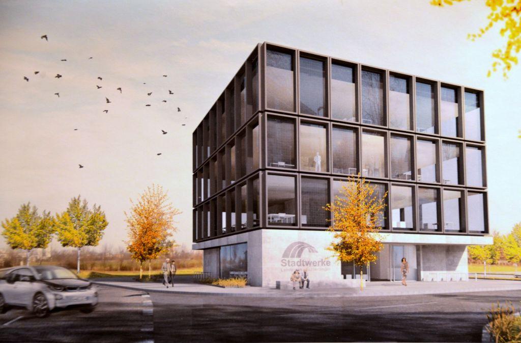 So ähnlich – aber mit weniger Glas in der Fassade – soll der Neubau der Stadtwerke einmal aussehen. Eine Jury hatte sich im März 2016 für den  Entwurf des Stuttgarter Büros Lima entschieden. Foto: Archiv  Leven