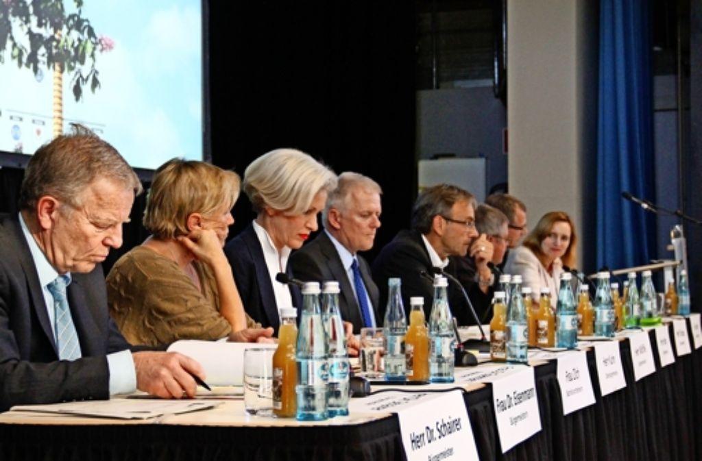 Bis auf Finanzbürgermeister Föll hatte sich die komplette Verwaltungsspitze um Bezirksvorsteherin Ulrike Zich (3. v. l.) versammelt. Foto: