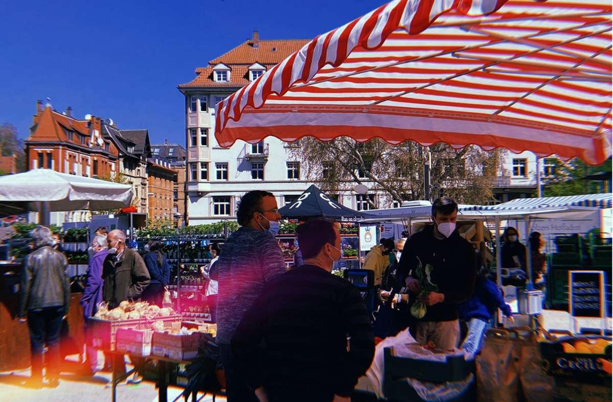 Seit diesem Freitag gibt es einen reinen Bio-Wochenmarkt am Marienplatz. Foto: Stadtkind/Kriebernig
