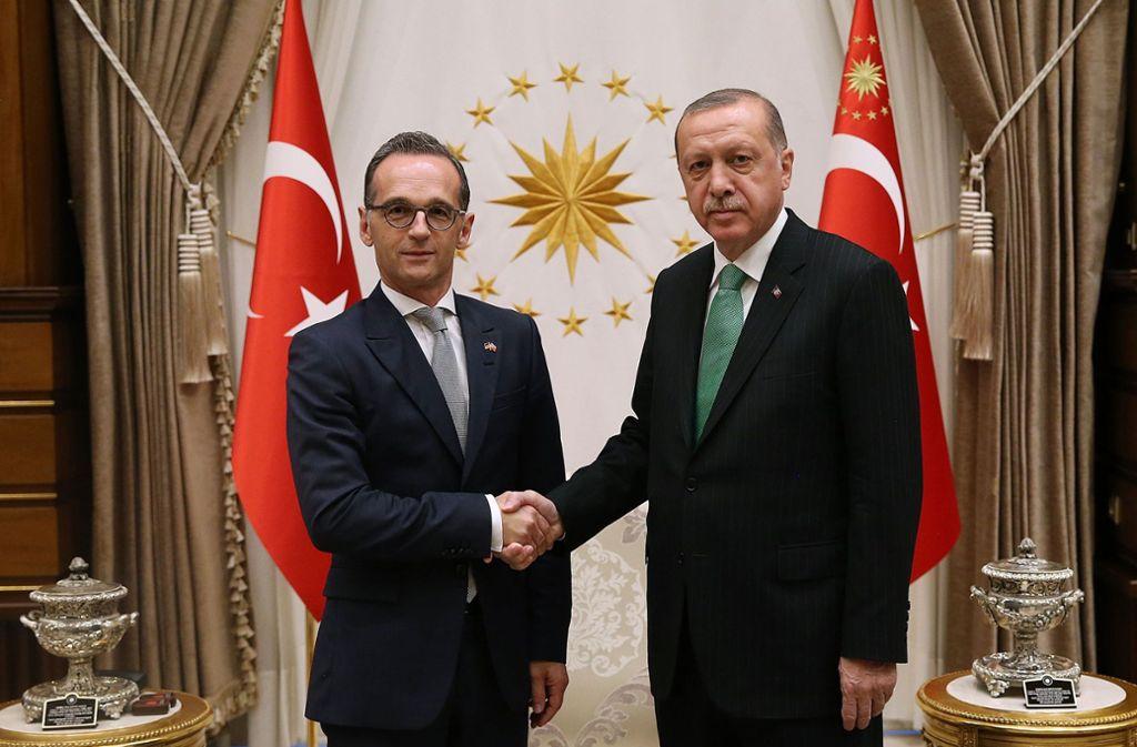 Außenminister Heiko Maas zu Besuch bei Präsident Tayyip Erdogan in Ankara. Foto: AFP