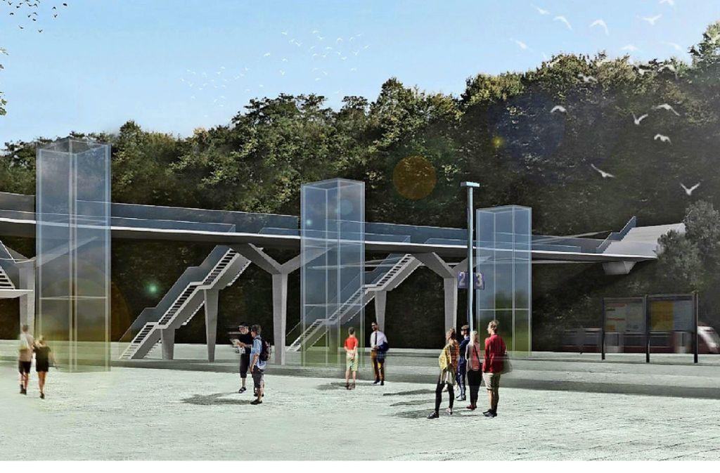 So könnte der Steg über die Gleise des Bahnhofs in Backnang aussehen. Foto: Büro sbp