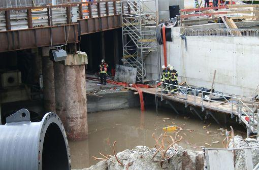 S21-Baustelle bei Unwetter geflutet