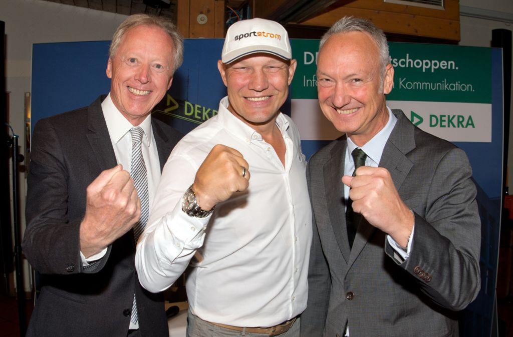 Moderator Hermann Orgeldinger (li.),   Ex-Boxer  Axel Schulz und Stephan Heigl von der Dekra Foto: Lg/Willikonsky