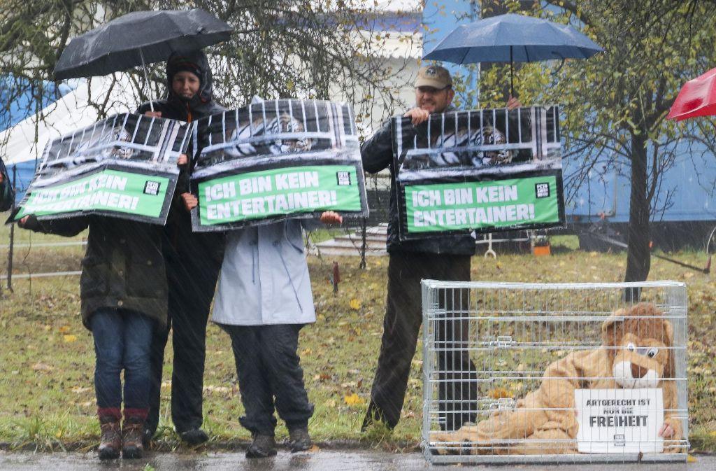 Bei strömendem Regen demonstrieren Peta-Aktivisten vor dem Zirkus Althoff. Mehr Eindrücke in unserer Bildergalerie. Foto: factum/Granville