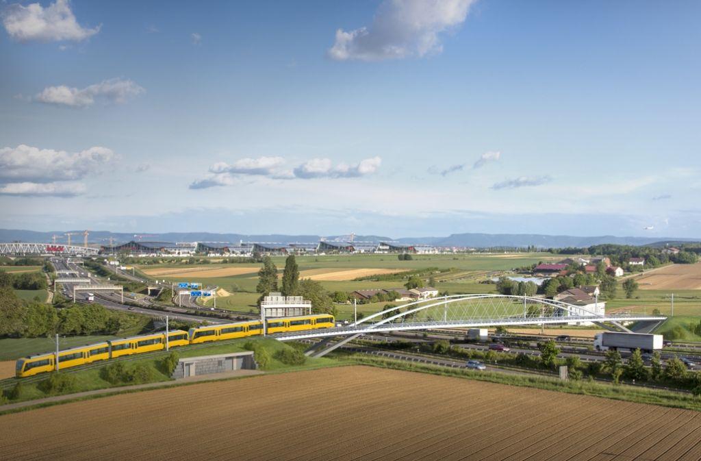 Die Stadtbahnlinie U 6 soll die Autobahn A 8 auf einer schwungvoll gezeichneten Brücke überwinden. Foto: SSB AG