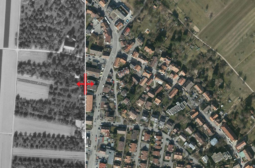 Birkach ist seit 1955 stark gewachsen. Foto: Stadtmessungsamt/Plavec