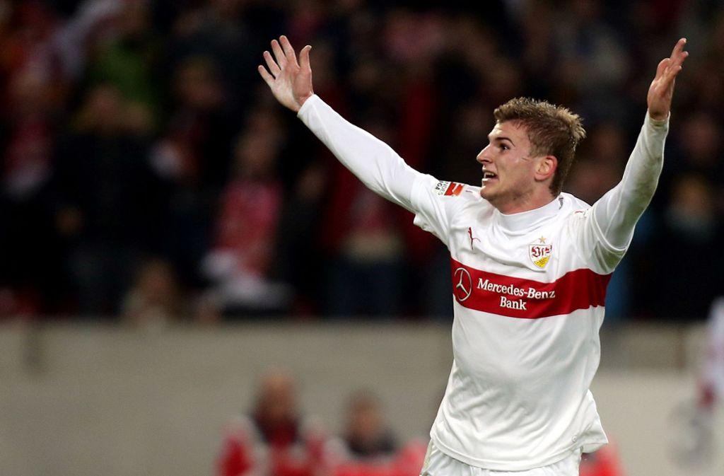 Für den VfB erzielte Timo Werner in 95 Erstligapartien 13 Tore, ehe er im Sommer 2016 nach dem Stuttgarter Abstieg zu RB Leipzig wechselte. Foto: Baumann