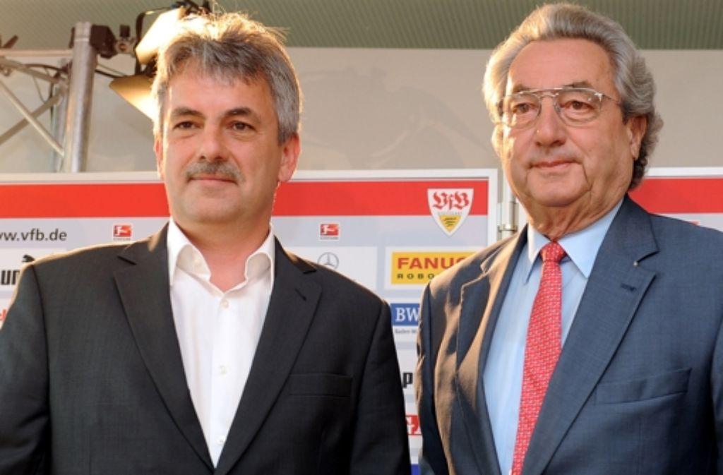 Die VfB-Chefs Gerd Mäuser (links) und Dieter Hundt stehen in der Kritik. Foto: dpa