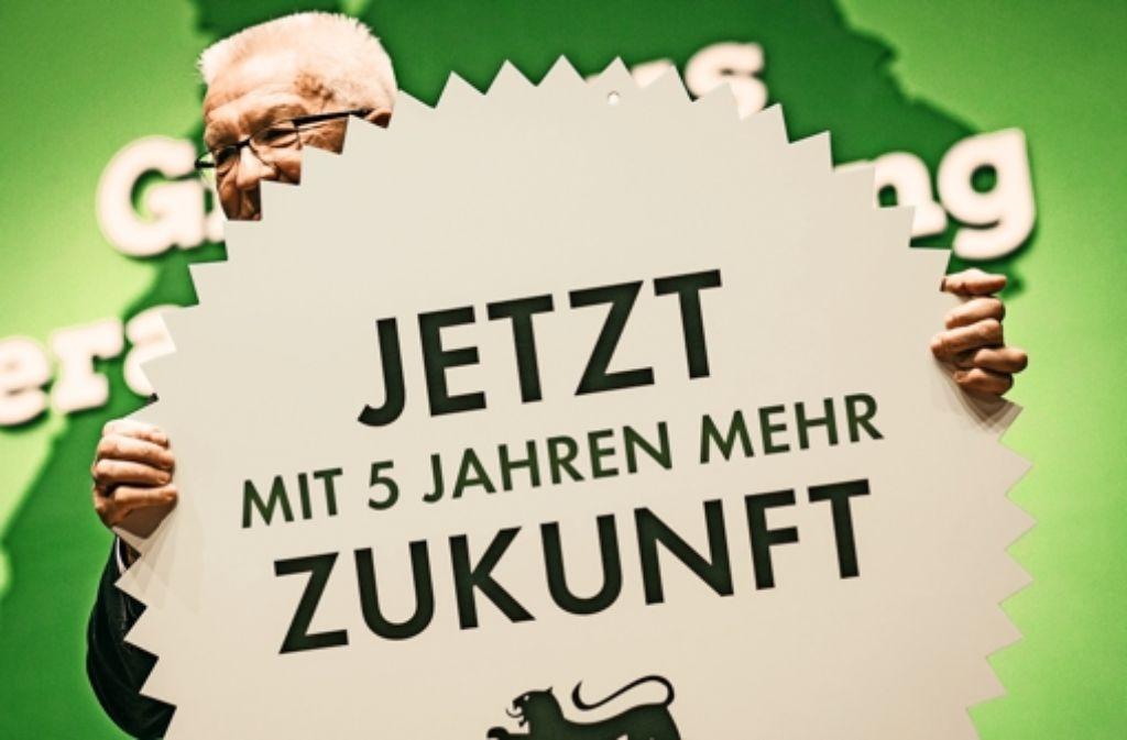 Winfried Kretschmann bekundet nach seiner Rede auf dem Grünen-Landesparteitag  sein Interesse an einer zweiten Amtszeit Foto: dpa