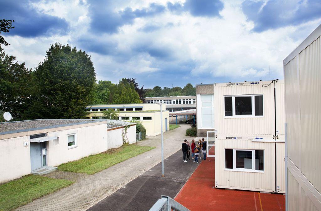 Seit den Sommerferien werden die Schüler der Zollberg-Realschule in Containern unterrichtet. Foto: Ines Rudel/Ines Rudel