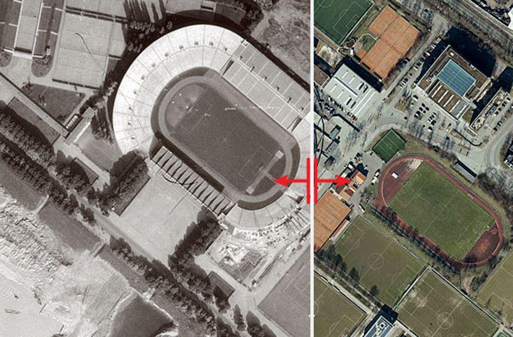 1955 hieß das Stadion noch Neckarstadion. Seither wurde es mehrfach umgebaut. Die folgende umfangreiche Bildergalerie zeigt die vielen Gesichter des Stadions. Foto: Stadtmessungsamt Stuttgart