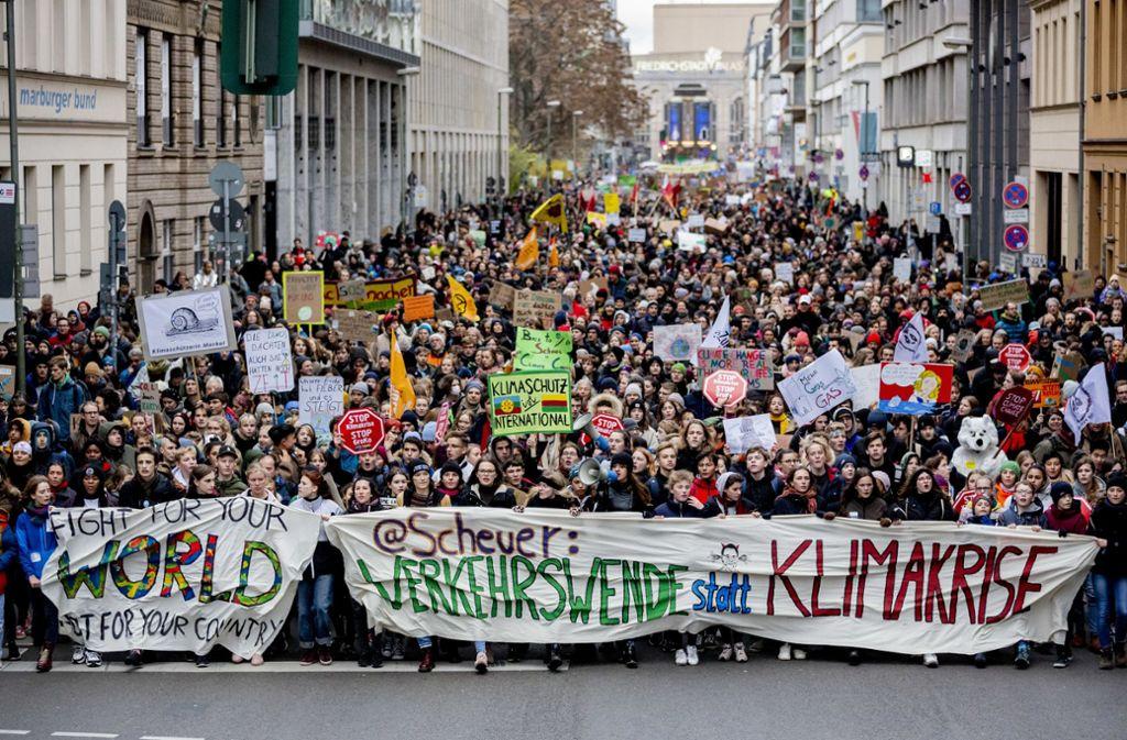 Die Demonstrierenden haben ganz unterschiedliche Beweggründe, doch eines verbindet sie: Sie kämpfen für eine bessere Zukunft. Foto: dpa/Christoph Soeder