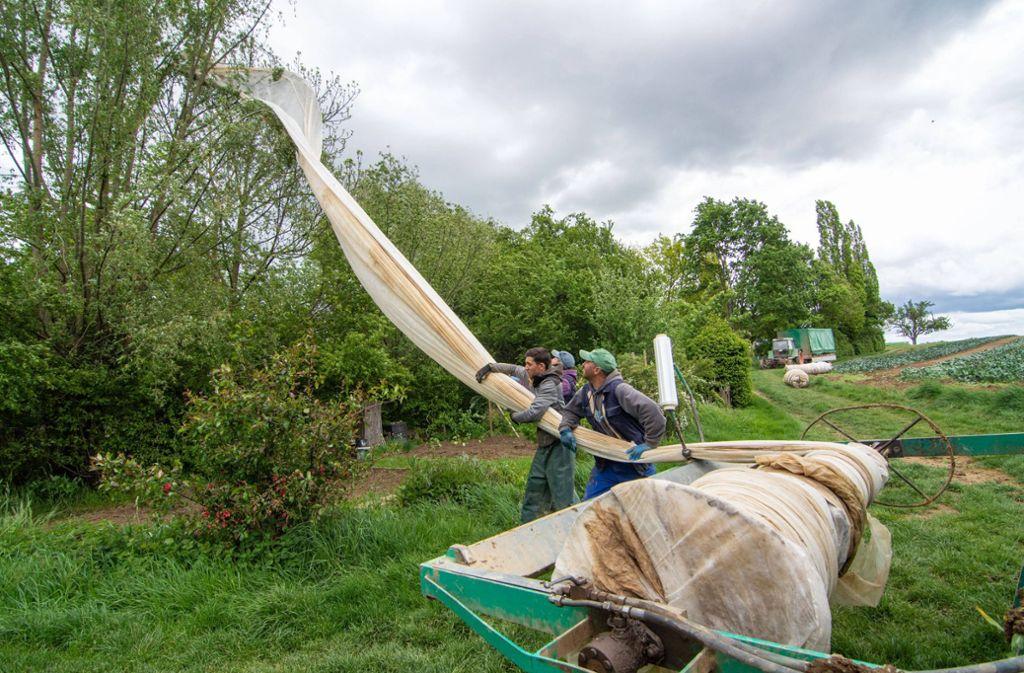 Die Plane sorgte am Samstag für einen Stromausfall in Filderstadt. Foto: 7aktuell.de/Moritz Bassermann