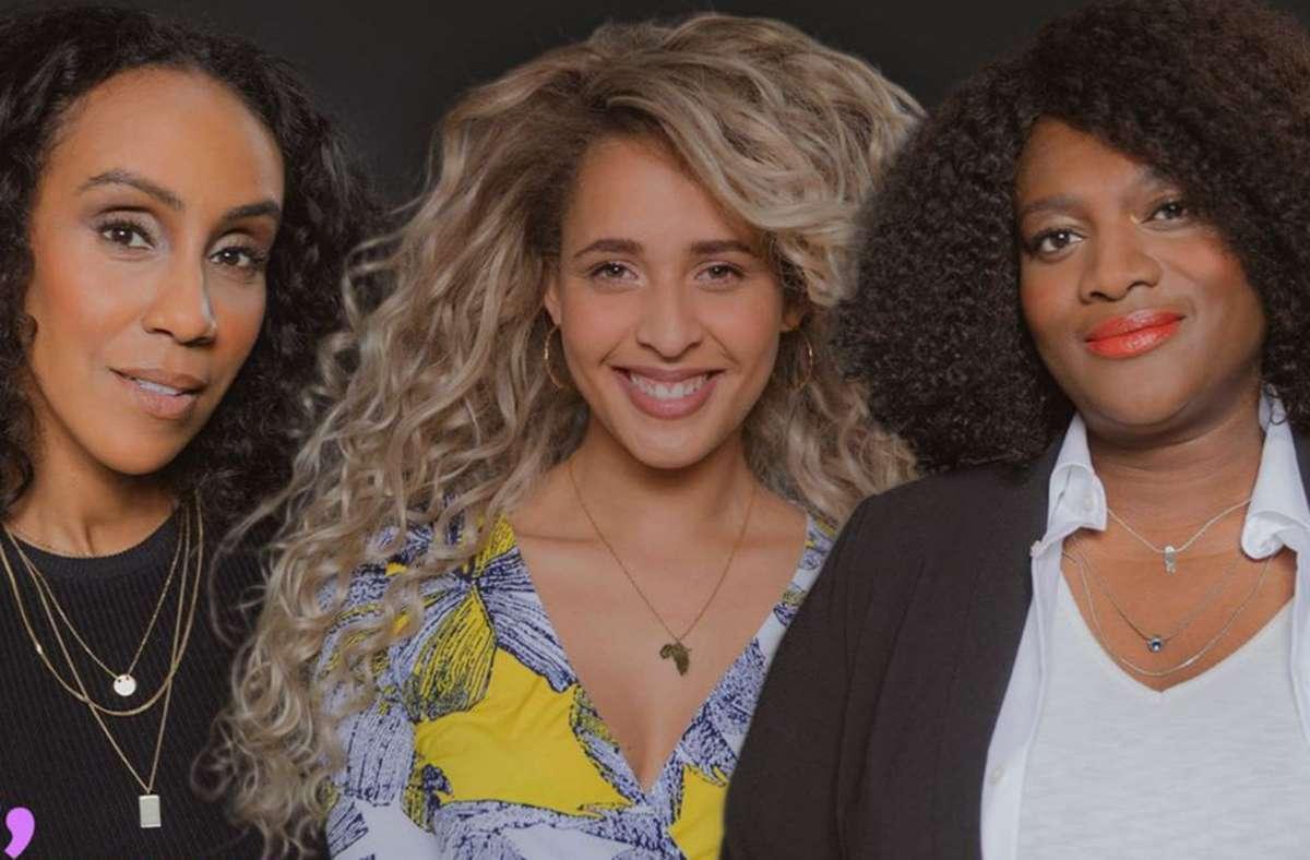 """Die drei Moderatorinnen der SWR-Sendung """"Five Souls""""  Hadnet Tesfai, Tasha Kimberly und Thelma Buabeng (von links). Foto: SWR/Kanakfilm Berlin/Sebastian Wirsching"""