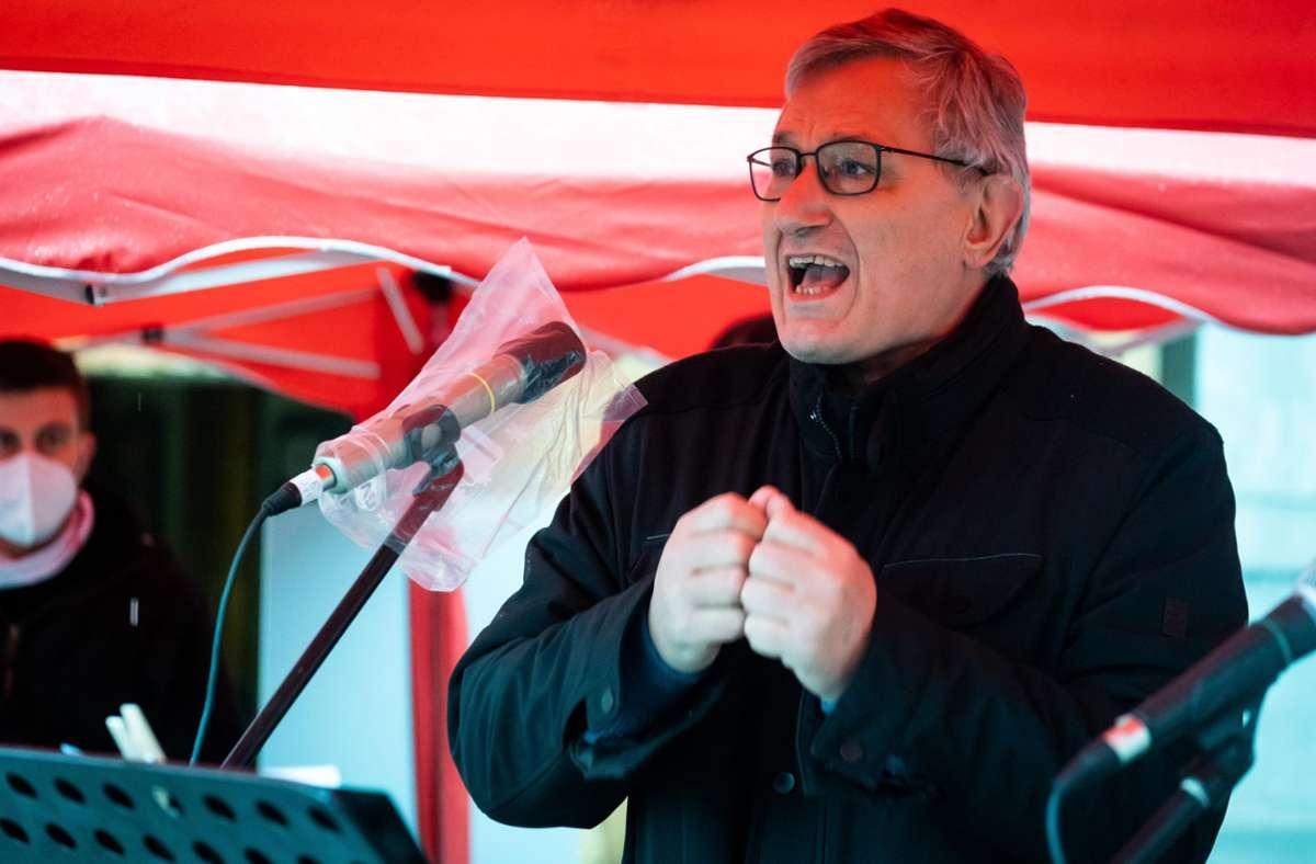 Der Bundesvorsitzende der Linken, Bernd Riexinger, hat den vier Kandidaten in der Stadt den Rücken gestärkt. Foto: Lichtgut/Achim Zweygarth/Achim Zweygarth