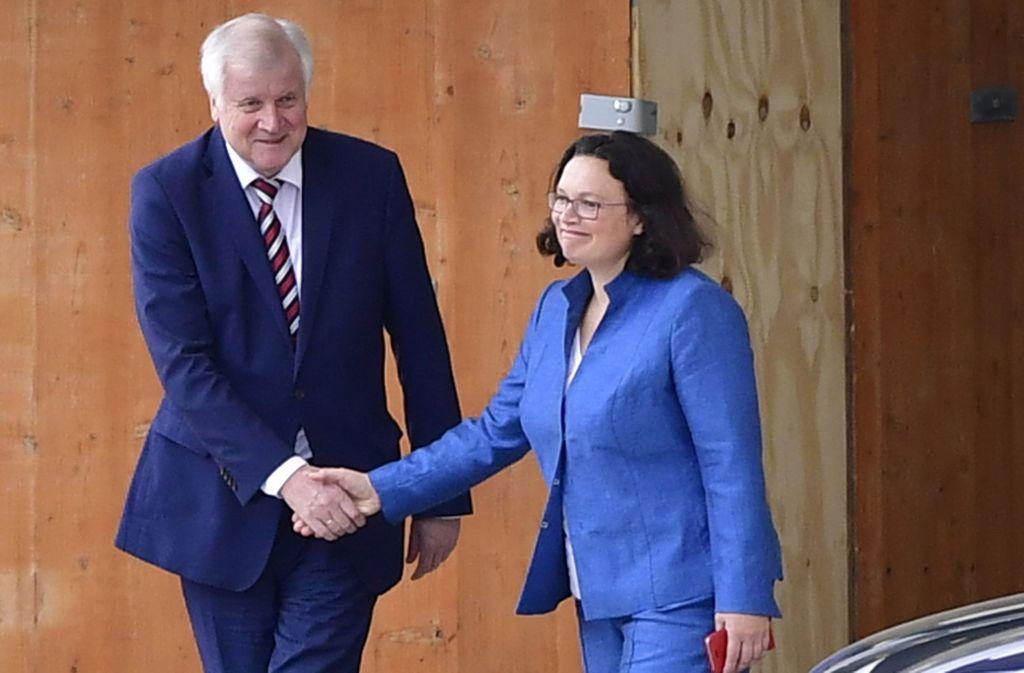 Horst Seehofer und Andrea Nahles verabschieden sich nach dem Gipfel. Foto: AFP