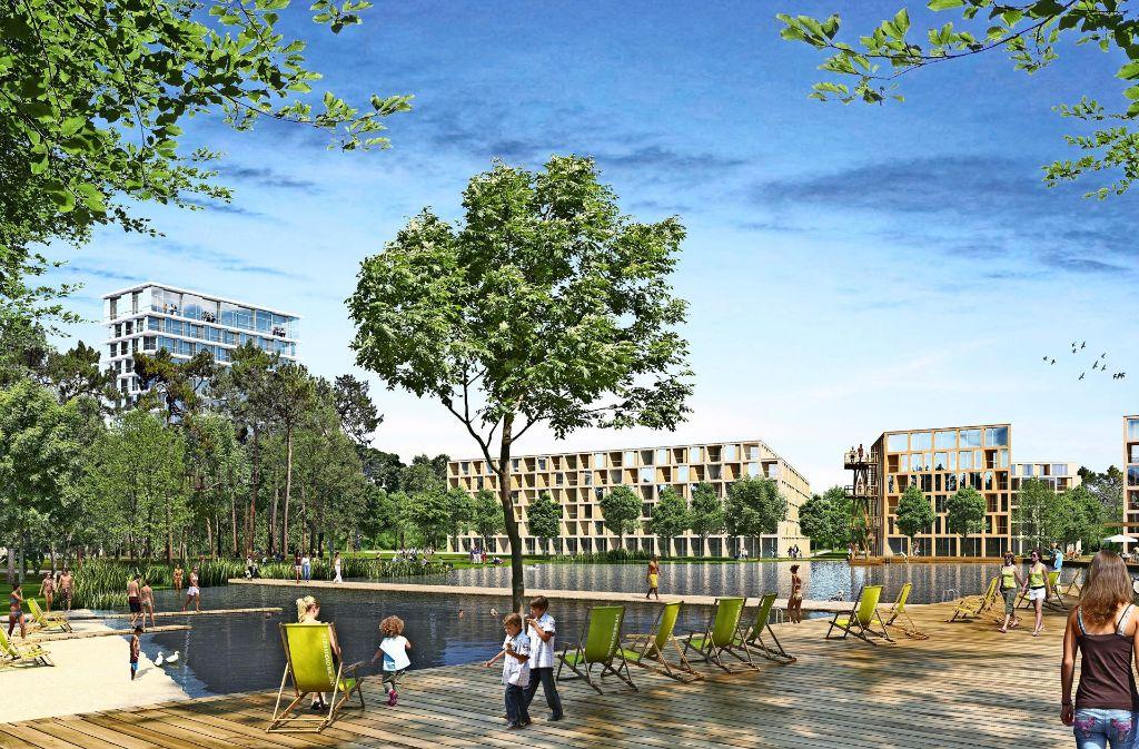 Der Siegerentwurf sieht einen zentralen Platz mit einem See vor. Foto: Steidle Architekten und Realgrün Landschaftsarchitekten