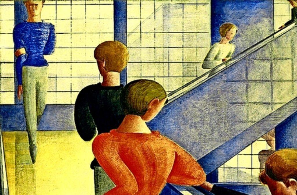 Eines seiner bekanntesten Werke: Oskar Schlemmer, Bauhaustreppe, 1932 Öl auf Leinwand, The Museum of Modern Art, New York, Schenkung Philip Johnson. Foto:   2014 Digital Image, The Museum of Modern Art, New York / Scala, Florence