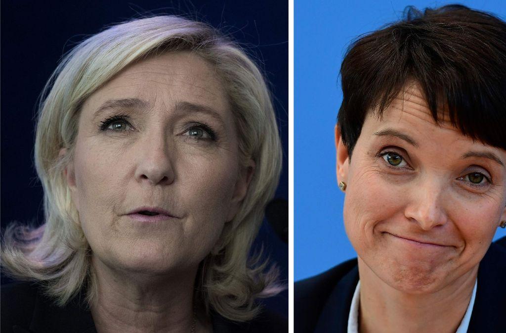 Treffen in Koblenz auf einer Veranstaltung europäischer Rechtspopulisten aufeinander: Die Präsidentschaftskandidatin der rechtsextremen französischen Partei Front National, Marine Le Pen (links), und AfD-Chefin Frauke Petry. Foto: AFP