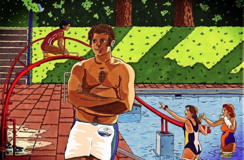 Mangels vorhandener Urlaubsfotos aus Kindertagen hat sich Georg Friedel diese Zeichnung    von seiner Zeit als Bademeister anfertigen lassen. Foto: