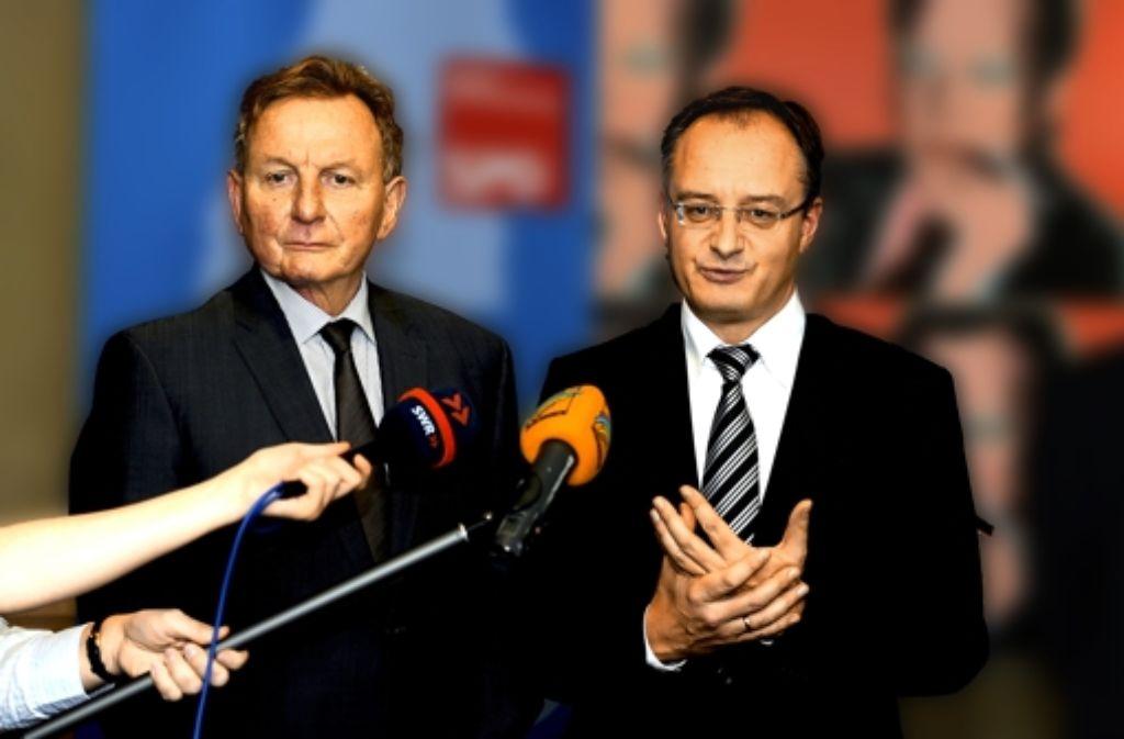 Claus Schmiedel (l.) und Andreas Stoch sind sich in Sachen neunjähriges Gymnasium uneins. Foto: dpa
