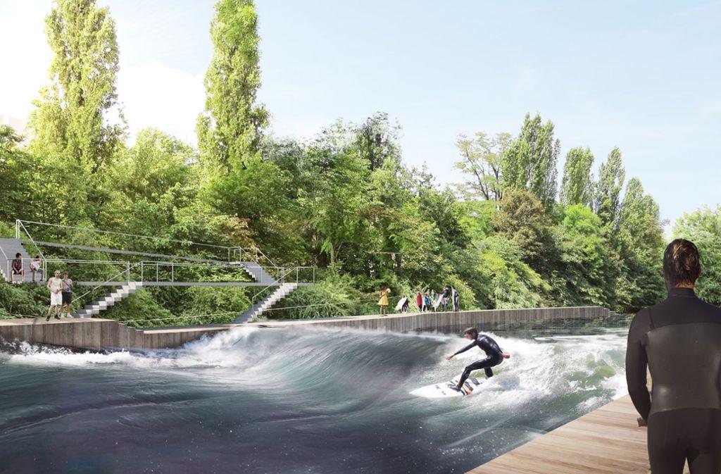 Die Surfwelle ist im Bürgerhaushalt top gesetzt. Doch die Stadt hat das Projekt aus Gesundheitsschutzgründen mittlerweile beerdigt. Foto: Verein Neckarwelle e.V
