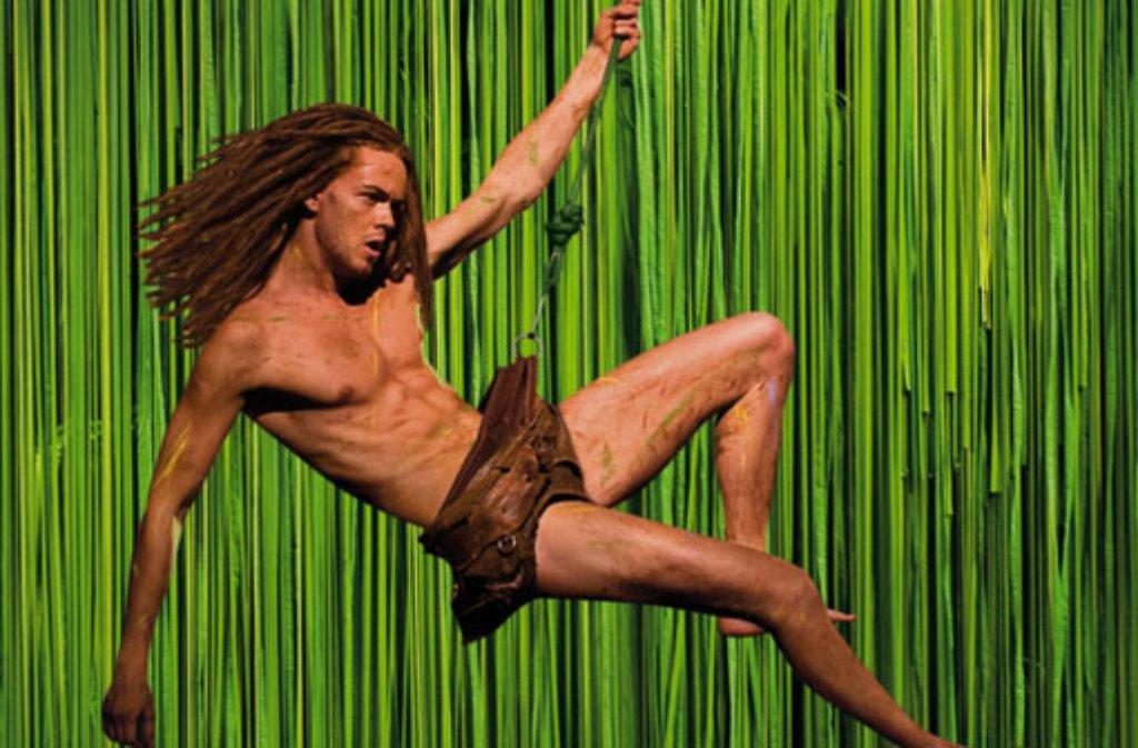 Tarzan schwingt sich von Hamburg nach Stuttgart: Das Musical läuft von Herbst 2013 an auf der Bühne in Stuttgart-Möhringen. Foto: Stage Entertainment
