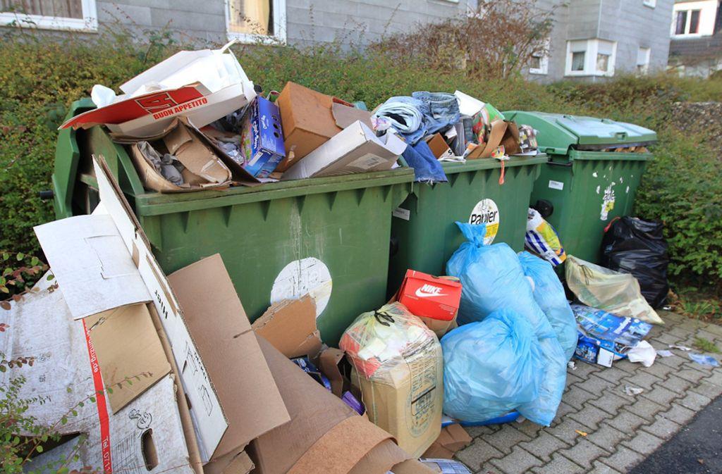 Vor den Papiercontainern der Vonovia-Wohnanlage an der Alten Dorfstraße in Birkach hatte sich über Wochen abgelagerter Müll gesammelt. Foto: privat