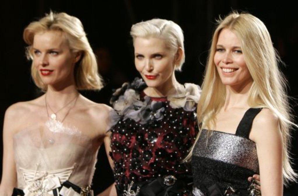 Eva Herzigova, Nadja Auermann und Claudia Schiffer (von links) Foto: AP