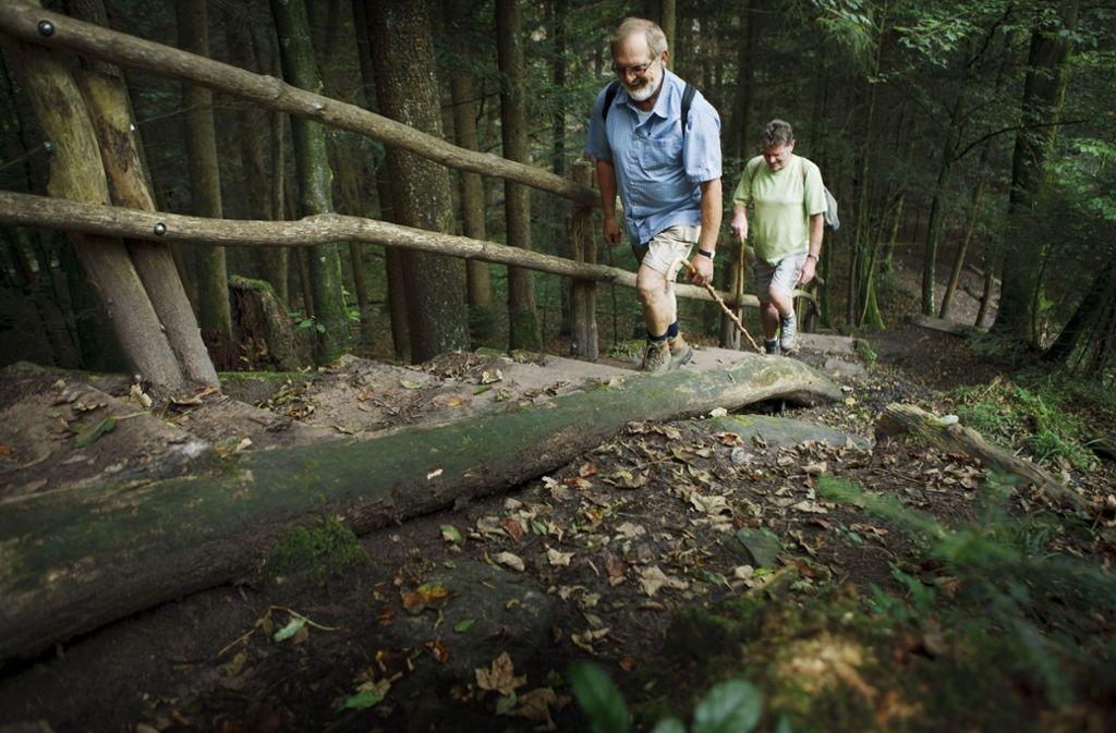 Wanderer in der Hörschbachschlucht bei Murrhardt Foto: Stoppel-Archiv