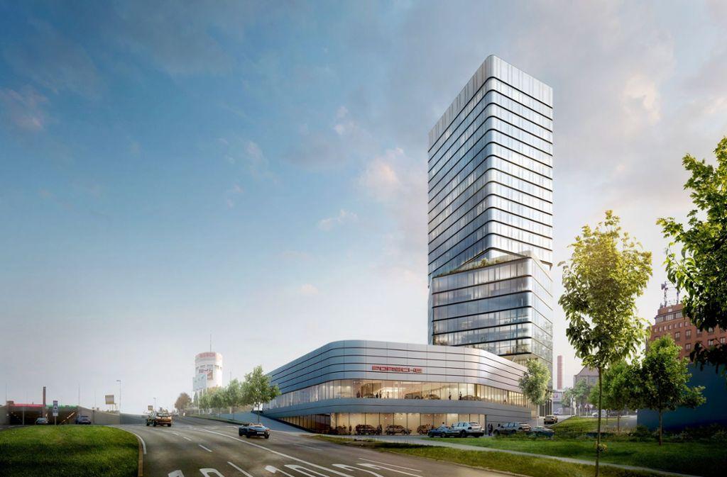 Der neue Porsche Design Tower am Pragsattel wird eines der höchsten Gebäude in der Landeshauptstadt. Foto: Porsche