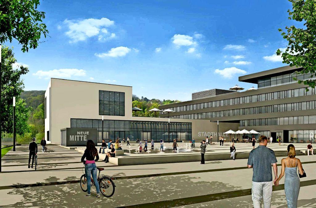 Umstrittener Würfel: der dritte Gebäudeteil in der geplanten Neuen Mitte in Remseck (links) Foto: Stadt  Remseck