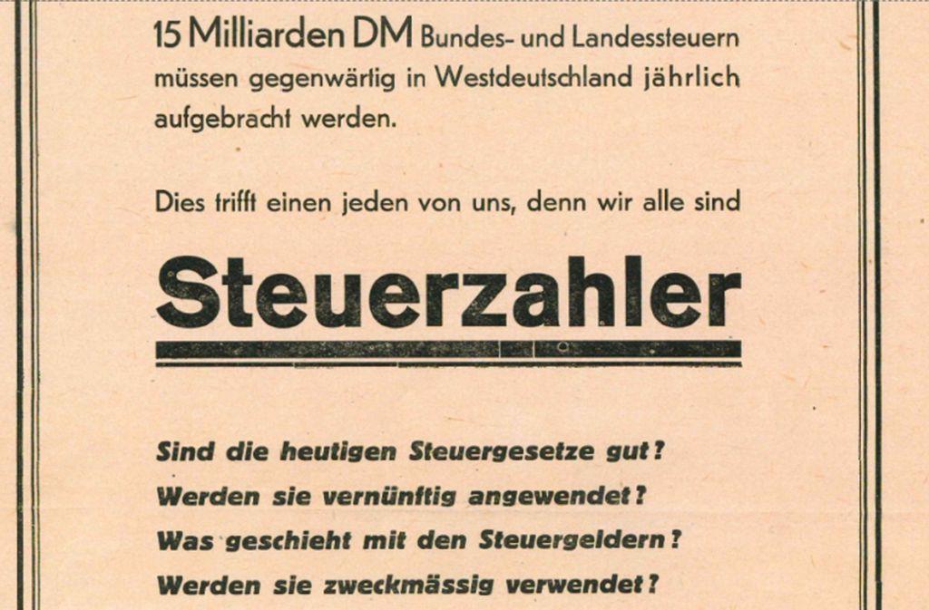 Ein Flugblatt aus dem Jahr 1949:  von Beginn an war der Bund der Steuerzahler für einen gläsernen Staat und ein sparsames Haushalten der Öffentlichen Hand. Foto: Scan StZ
